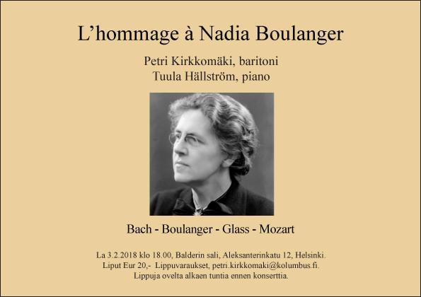 Konsertti L\'hommage à Nadia Boulanger